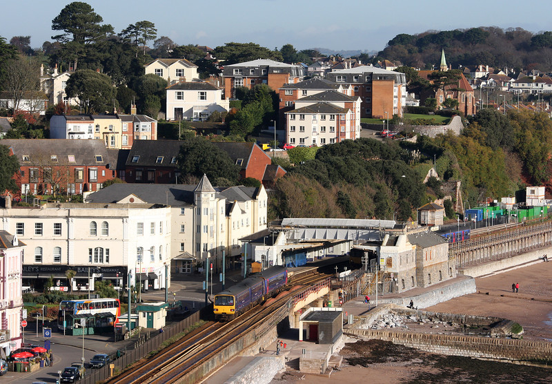 153/143621, eastbound; 150104/150, 09.23 Exmouth-Paignton, Dawlish, 11-11-12.