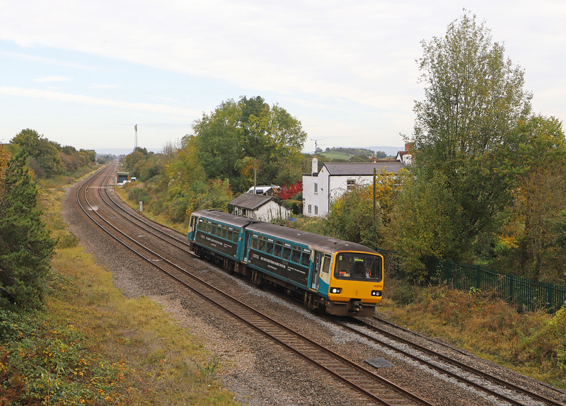 143614, 11.46 Cheltenham Spa-Cardiff Central, Grange Court, Gloucestershire, 29-10-19.