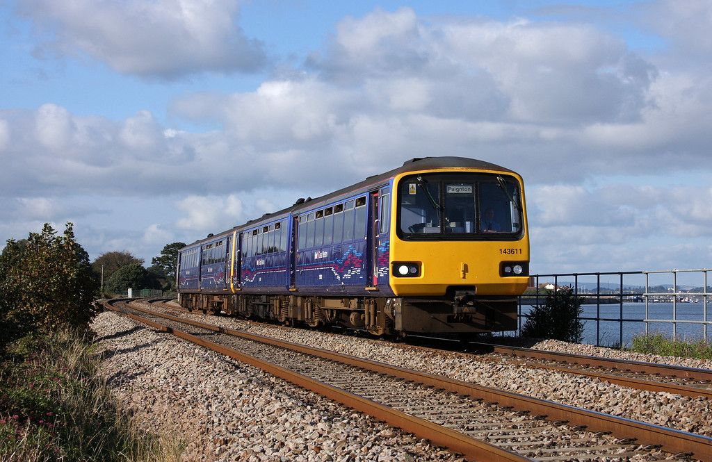143611/143603, 15.23 Exmouth-Paignton, Cockwood, near Starcross, 27-9-12.