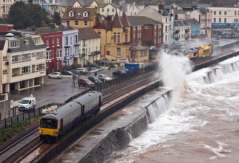 143612, 09.23 Exmouth-Paignton, Dawlish, 3-2-17. 66850, 07.57 Westbury-Lostwithiel.