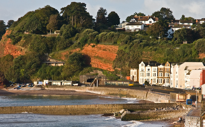 143620/143618, 07.12 Exmouth-Paignton, departing Dawlish, 13-9-17.