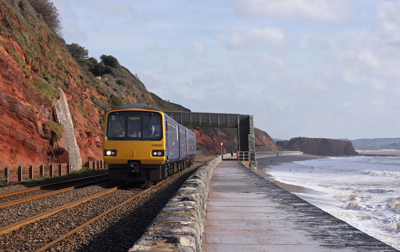 143620/153377, 09.23 Exmouth-Paignton, Dawlish, 12-3-13.