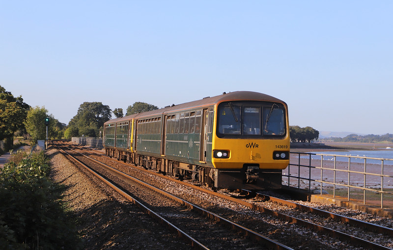 143619/143, 16.43 Exeter St James' Park-Paignton, Powderham, near Exeter, 19-9-19.