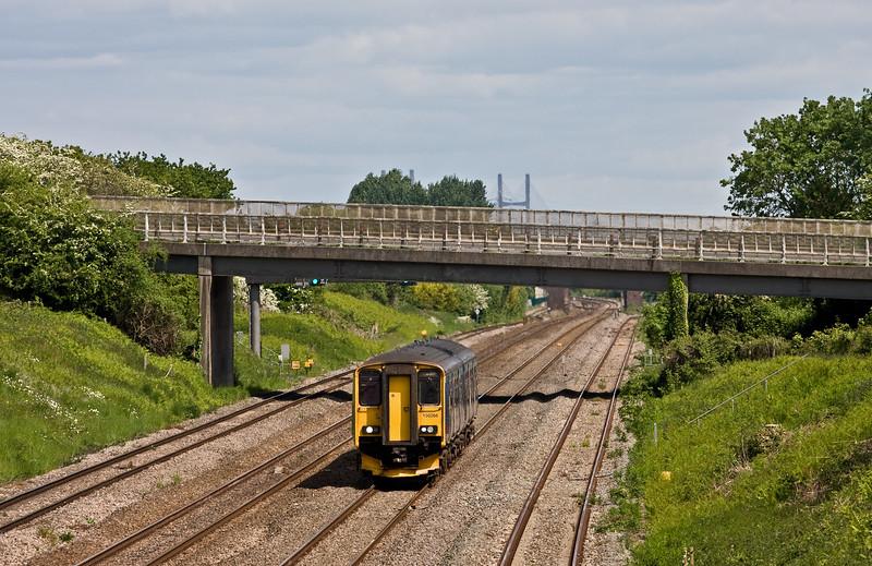 150266, 13.07 Taunton-Cardiff Central, Llandevenny, near Llanwern, 24-5-16.