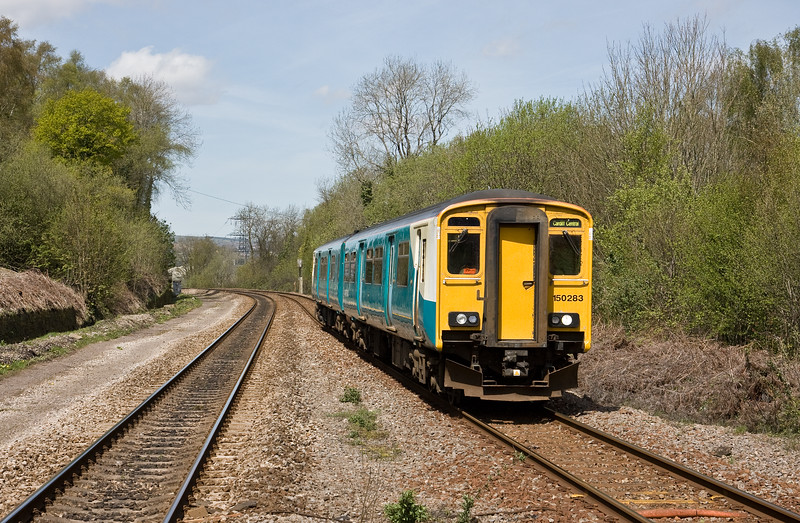 150283, 11.47 Treherbert-Cardiff Central, Treforest Estate, near Pontypridd, 4-5-16.