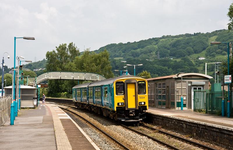 150241, 12.17 Treherbert-Cardiff Central, Treforest, near Pontypridd, 8-6-16.
