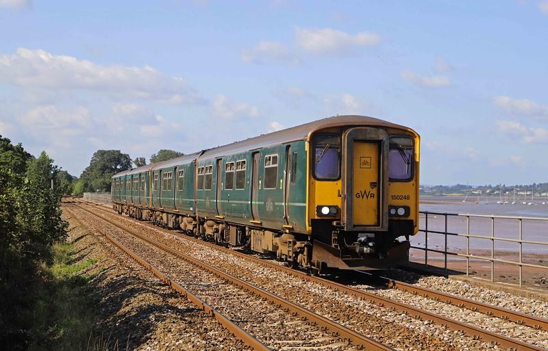 150248/150234, 15.23 Exmouth-Paignton, Powderham, near Starcross, 26-8-21.