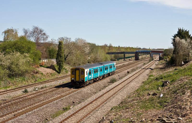 150208, 10.45 Cheltenham Spa-Maesteg, Undy, near Severn Tunnel Junction, 20-4-16.
