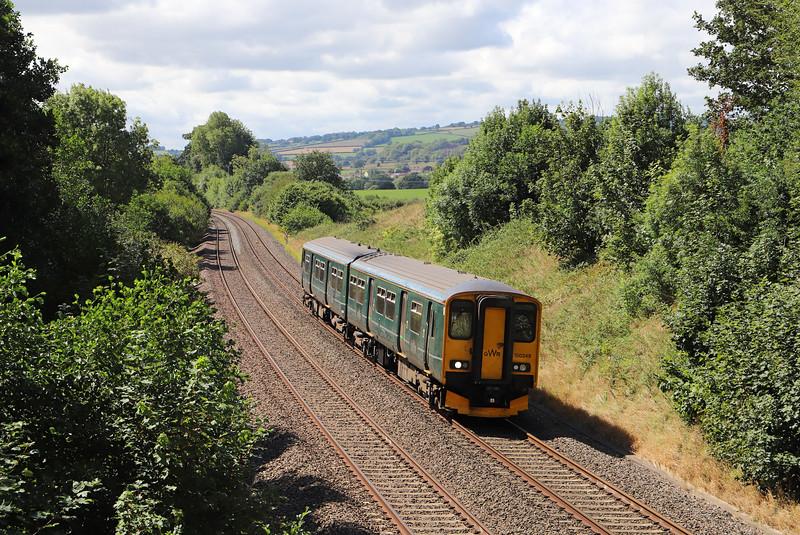 150249, 12.53 Paignton-Cardiff Central, Whiteball, 13-8-18.