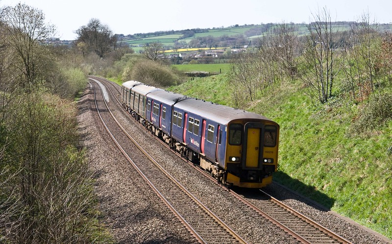 150219/150221, 12.53 Paignton-Cardiff Central, Whiteball, 20-4-18.