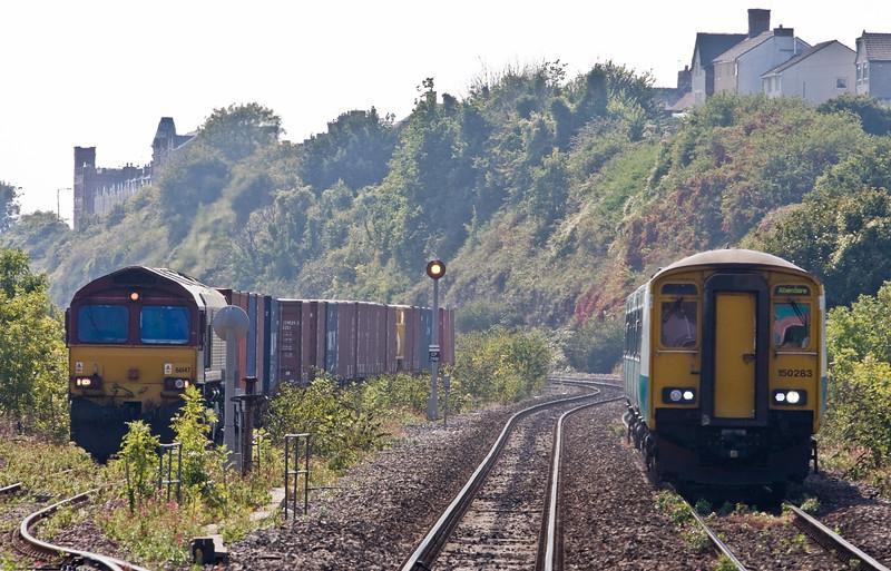 150283, 14.41 Barry Island-Aberdare, 66147, 14.32 Barry Docks-Newport Alexandra Dock Junction, Cadoxton, near Barry, 10-9-15.