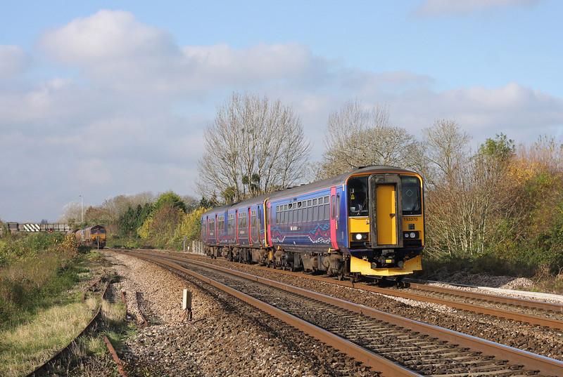 153370/150, 11.04 Taunton-Cardiff Central, Bathpool, Taunton, 14-11-12.