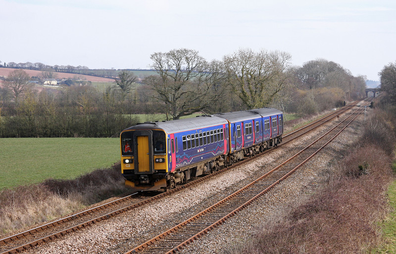 153305/150247, 10.53 Exmouth-Barnstaple, Gunstone Mill, near Crediton, 4-3-10.