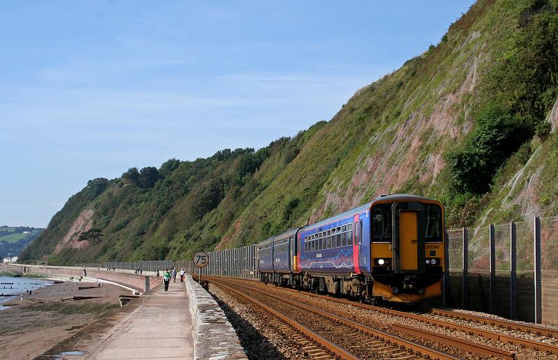 153380/142068, eastbound, Holcombe, near Teignmouth, 14-9-08.
