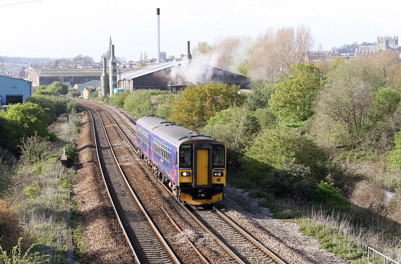 153329/153, 16.55 Exmouth-Paignton, Marsh Barton, Exeter, 17-4-12.