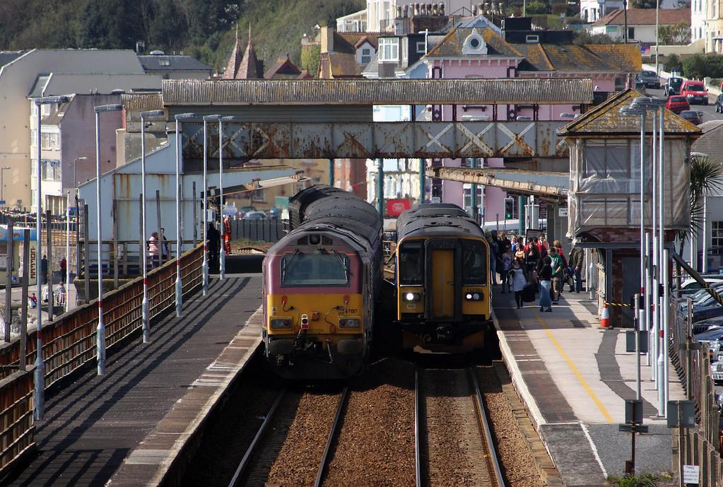 153368/142, 10.20 Paignton-Exmouth, 67022/67017, 08.00 Cardiff Central-Paignton, Dawlish, 20-4-10.