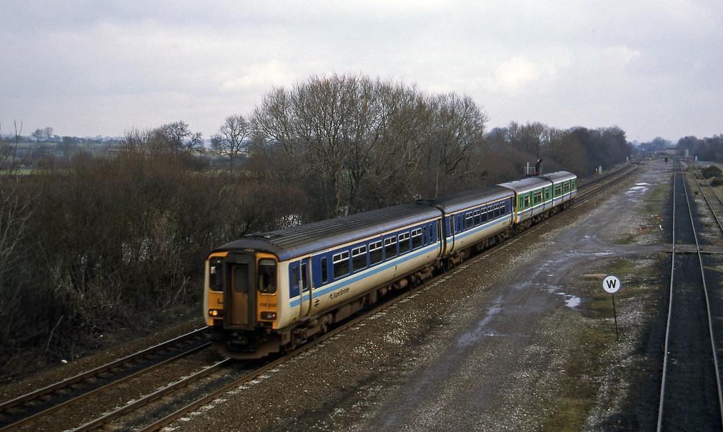156403/150131, up ecs, Stenson Junction, near Derby, 24-2-95.
