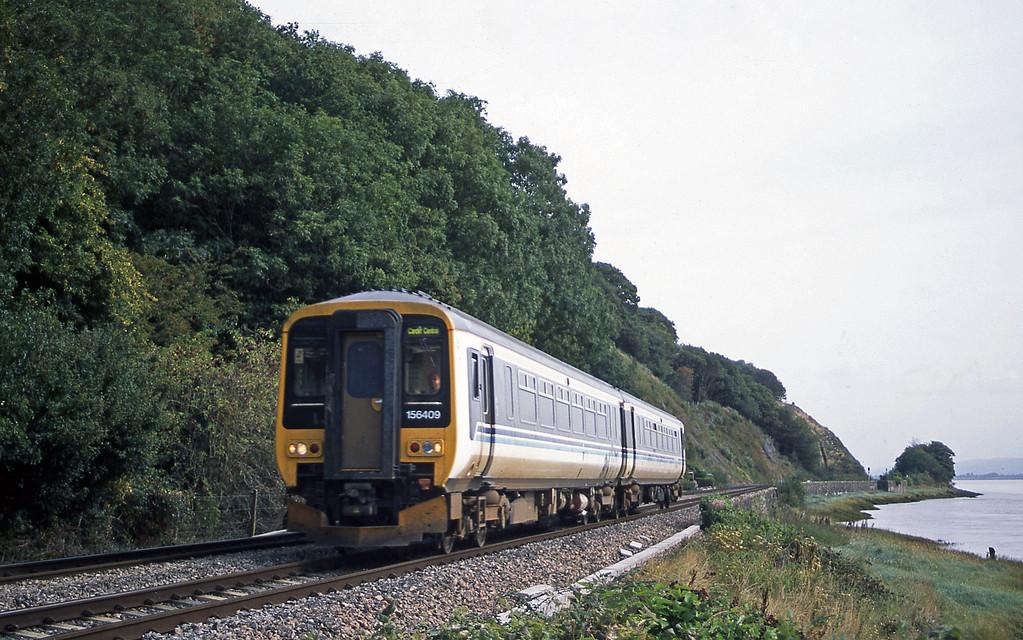 156409, Nottingham-Cardiff Central, Gatcombe, near Lydney, 12-9-03.