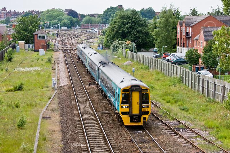 158840/158, 11.23 Holyhead-Birmingham International, Abbey Foregate Junction, Shrewsbury, 31-5-14.