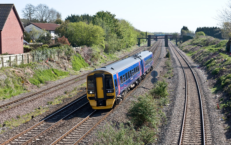 158766, 08.41 Weston-super-Mare-Cardiff Central, Undy, near Severn Tunnel Junction, 4-5-16.