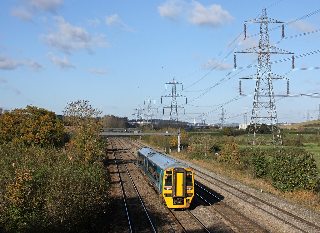 158821, eastbound, Duffryn, near Newport, 13-10-12.