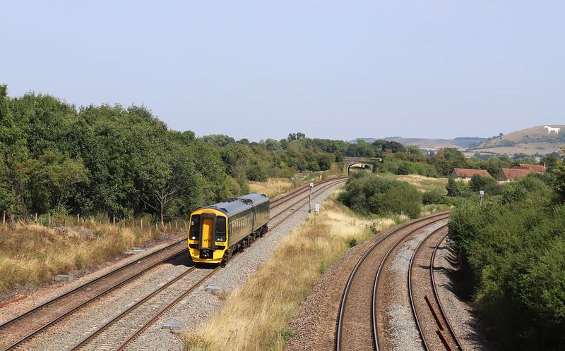 158766, 12.42 Gloucester-Frome, Fairwood Junction, Westbury, 6-8-18.