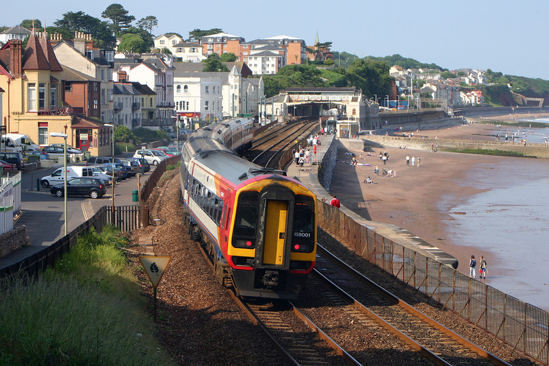 159/159001, eastbound, Dawlish, 26-6-05.