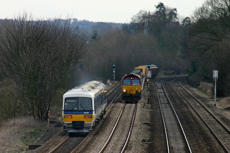 165116, eastbound, Lower Basildon, near Pangbourne, 25-2-04. 66194, 10.17 Marchwood-Didcot Yard,  held at signal for 25 minutes.
