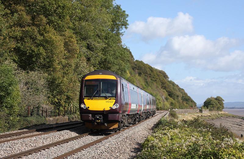 170637, 10.11 Nottingham-Cardiff Central, Gatcombe, near Lydney, 6-10-11.