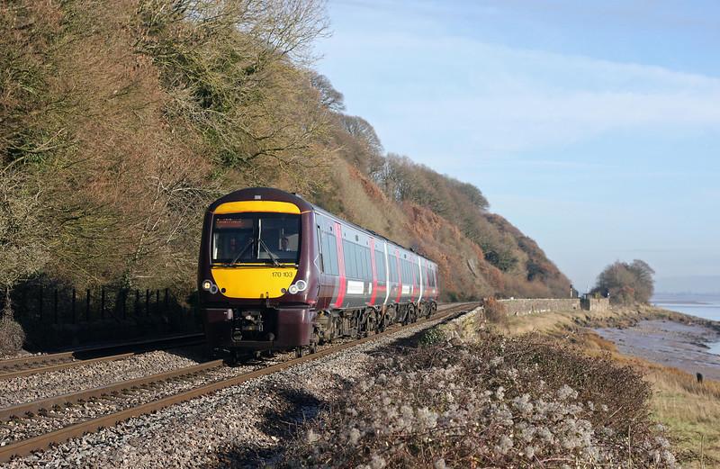 170105, 09.11 Nottingham-Cardiff Central, Gatcombe, near Lydney, 19-1-11.