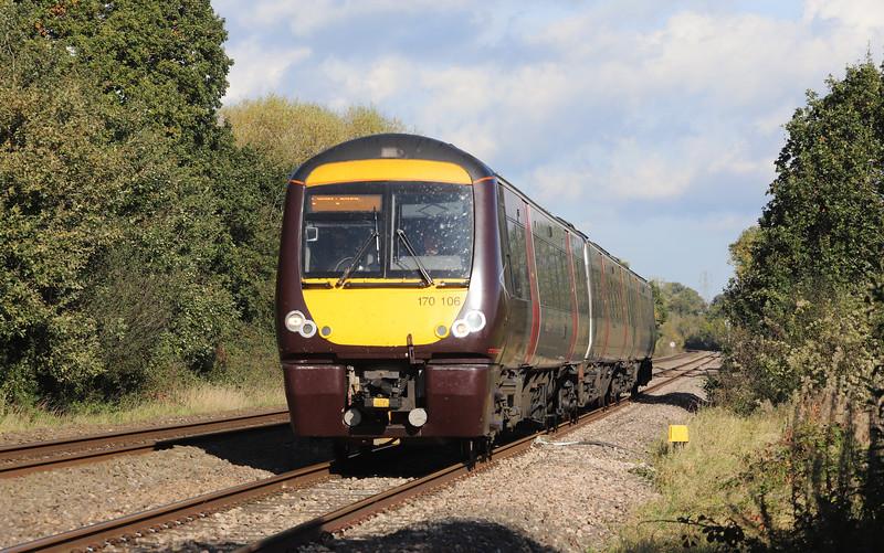 170106, 10.07 Nottingham-Cardiff Central, Awre Level Crossing, Gloucesteshire, 22-10-19.