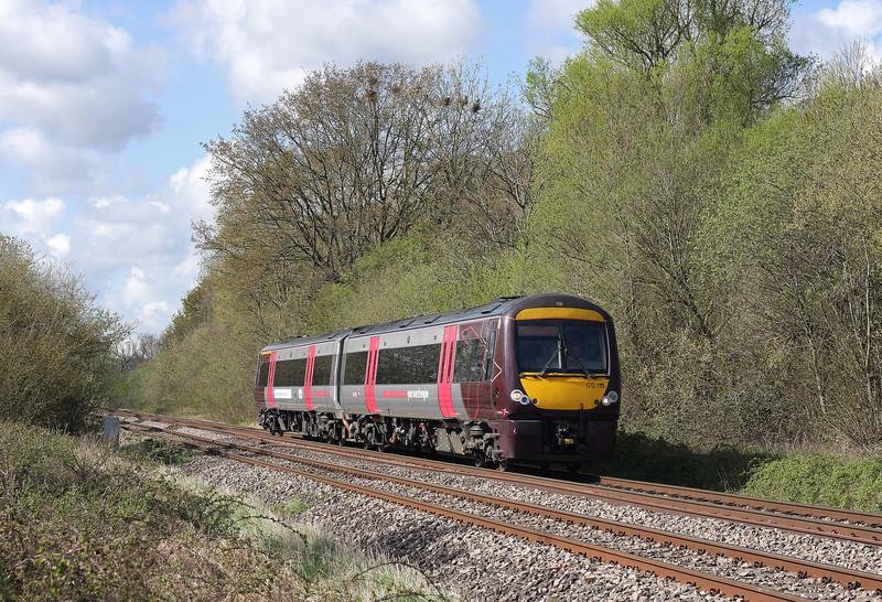 170115, 09.45 Cardiff Central-Nottingham, Northwood Green, near Westbury-on-Severn,  Gloucestershire, 11-4-12.