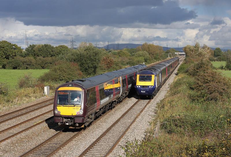 170379, 14.45 Cardiff Central-Nottingham, Coedkernow, near Newport, 13-10-12; HST, 12.45 London Paddington-Swansea.