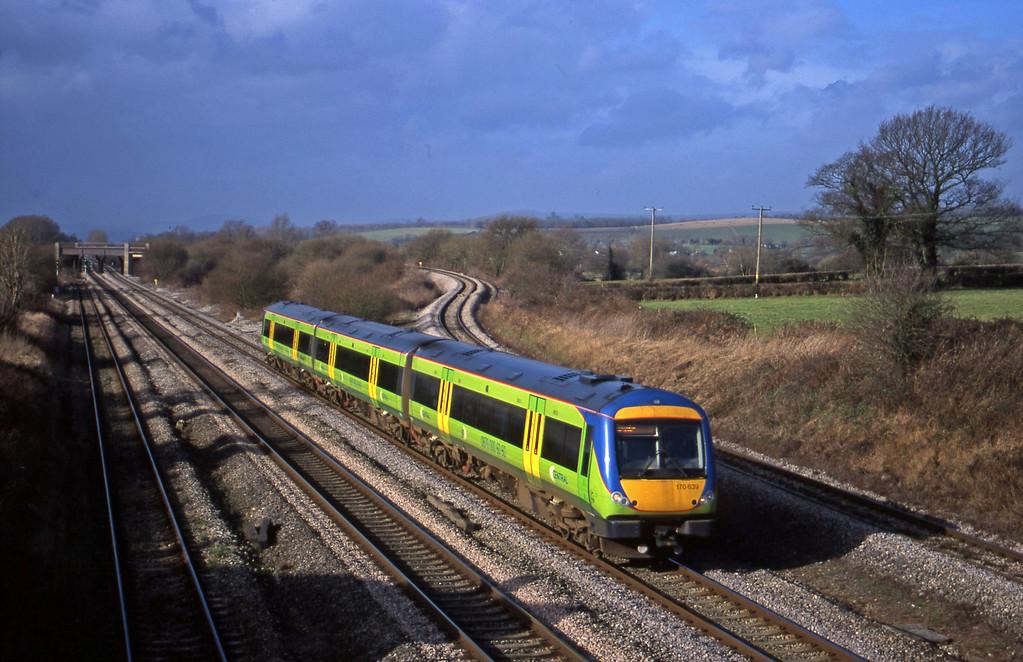 170639, 10.45 Cardiff Central-Nottingham, Llandevenny, near Llanwern, 6-2-01.
