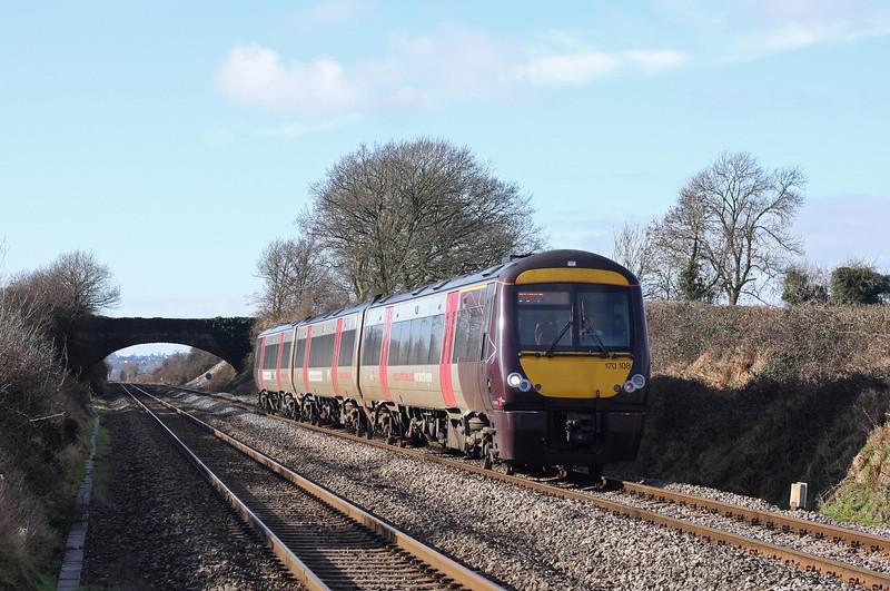 170108, 09.45 Cardiff Central-Nottingham, Woolaston, near Lydney, 14-2-11.