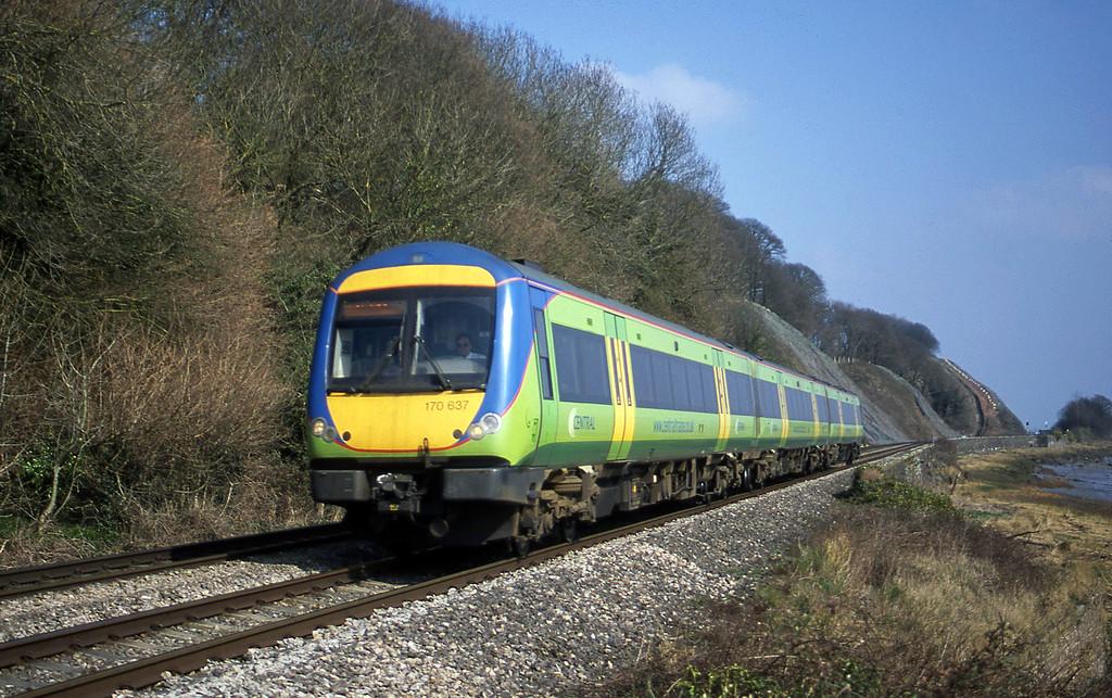 170637, Nottingham-Cardiff Central, Gatcombe, near Lydney, 21-3-03.