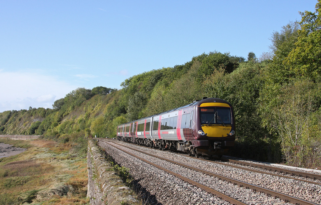 170520/170116, 10.45 Cardiff Central-Nottingham, Gatcombe, near Lydney, 6-10-11.