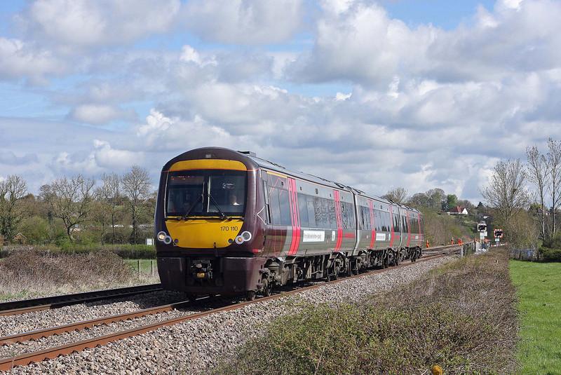 170110, 08.08 Nottingham-Cardiff Central, Northwood Green, near Westbury-on-Severn,  Gloucestershire, 11-4-12.