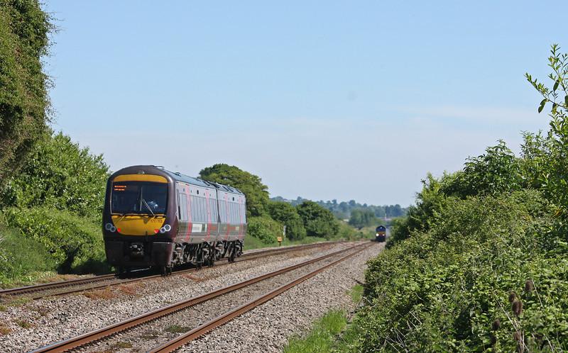 170113, 10.45 Cardiff Central-Nottingham, Woolaston, near Lydney, 21-5-14. 66421, 08.23 Daventry DRS-Cardiff Wentloog,