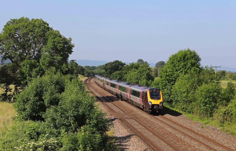 220032/221136, 07.25 Plymouth-Newcastle, Cogload Junction, near Taunton, 23-6-21.