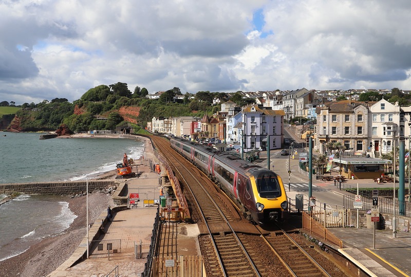221, 09.25 Plymouth-Aberdeen, Dawlish, 6-6-19. Work started this month on sea wall resilience project.