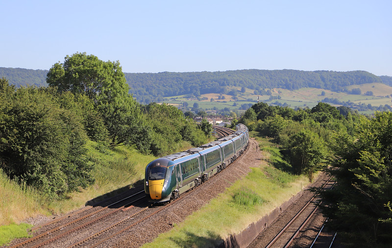 800027/800029, 16.15 London Paddington-Swansea, Standish Junction, near Stonehouse, 27-6-18.