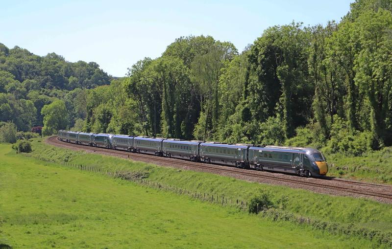 800031/800, 14.30 Bristol Temple Meads-London Paddington, diverted via Westbury, animals on line at Wootton Bassett, Avoncliff, near Bradford-on-Avon, 20-5-20.
