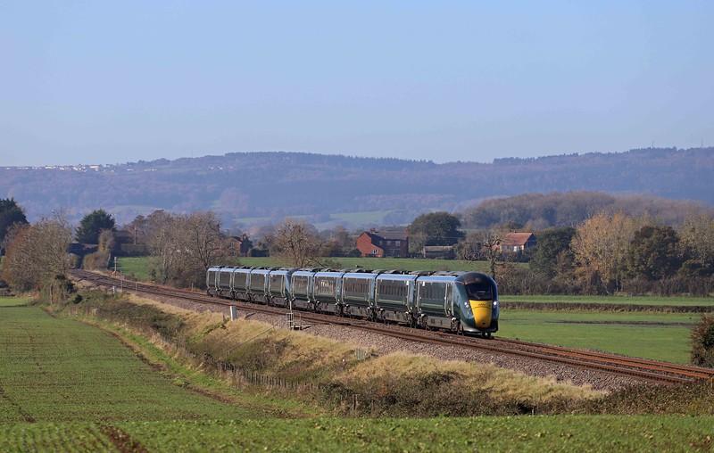 IET, diverted 07.23 Carmarthen-London Paddington, Churcham, near Gloucester, 4-11-20. South Wales Main Line closed at Patchway, Bristol, for bridge replacement.