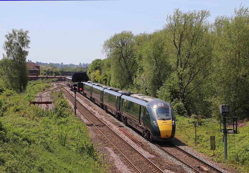 802114, 08.15 Penzance-London Paddington, Hawkeridge Junction, Westbury, 1-6-21. Diverted via Melksham for unknown reason when 21min late at Westbury.