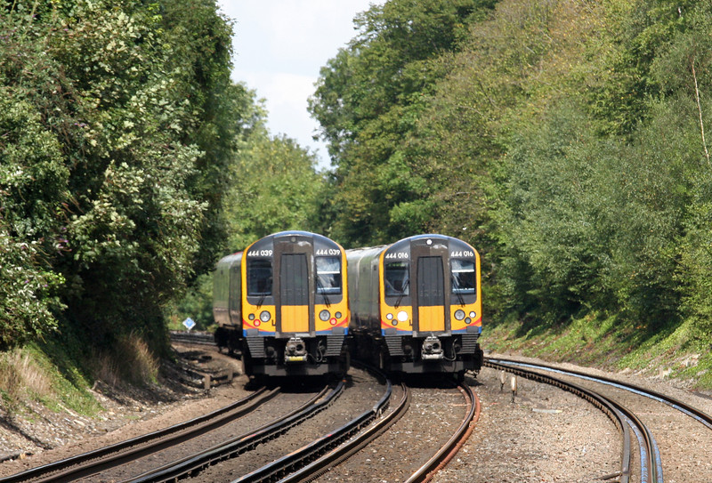 444039, northbound, 444016, southbound, Shawford, near Winchester, 28-8-12.