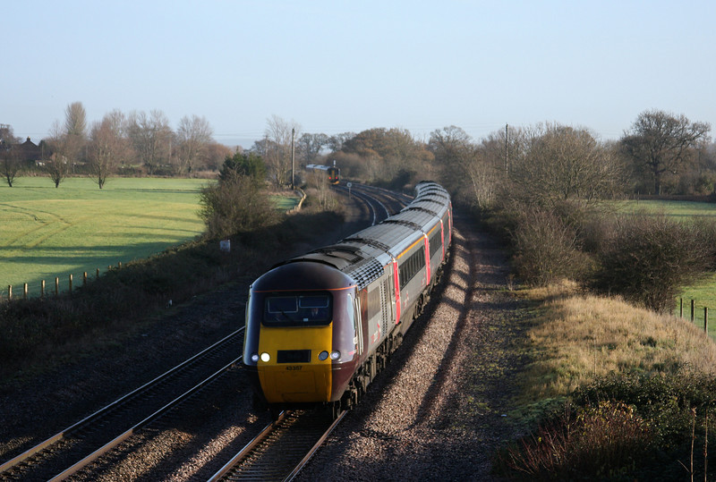 43357,/43378, 06.00 Leeds-Plymouth, 158766/153370, 10.07 Taunton-Cardiff Central, Creech St Michael, near Taunton, 10-12-09.