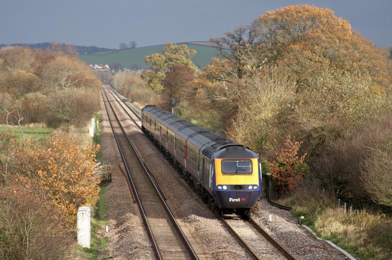 HST, 10.00 London Paddington-Paignton, Rewe, near Exeter, 24-11-09.