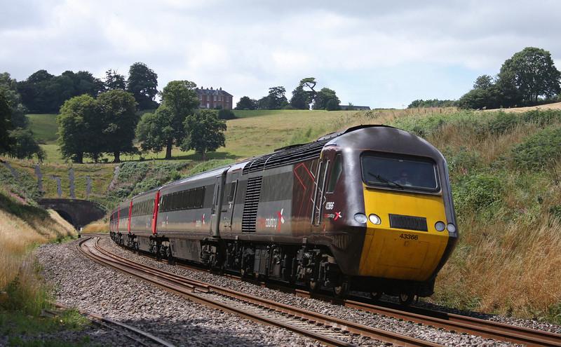 43366/43304, 12.23 Plymouth-Glasgow Central, Marlands, near Wellington, 28-7-10.