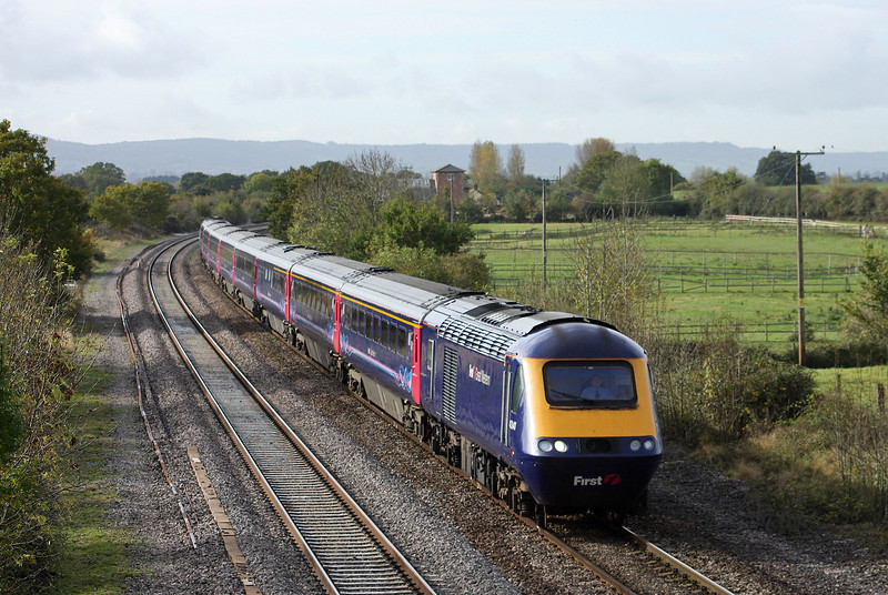 HST, 08.44 Penzance-London Paddington, Cogload, near Taunton, 23-10-09.